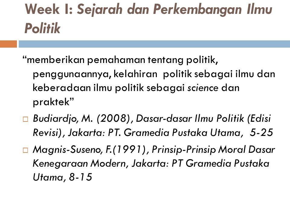 Week I: Sejarah dan Perkembangan Ilmu Politik