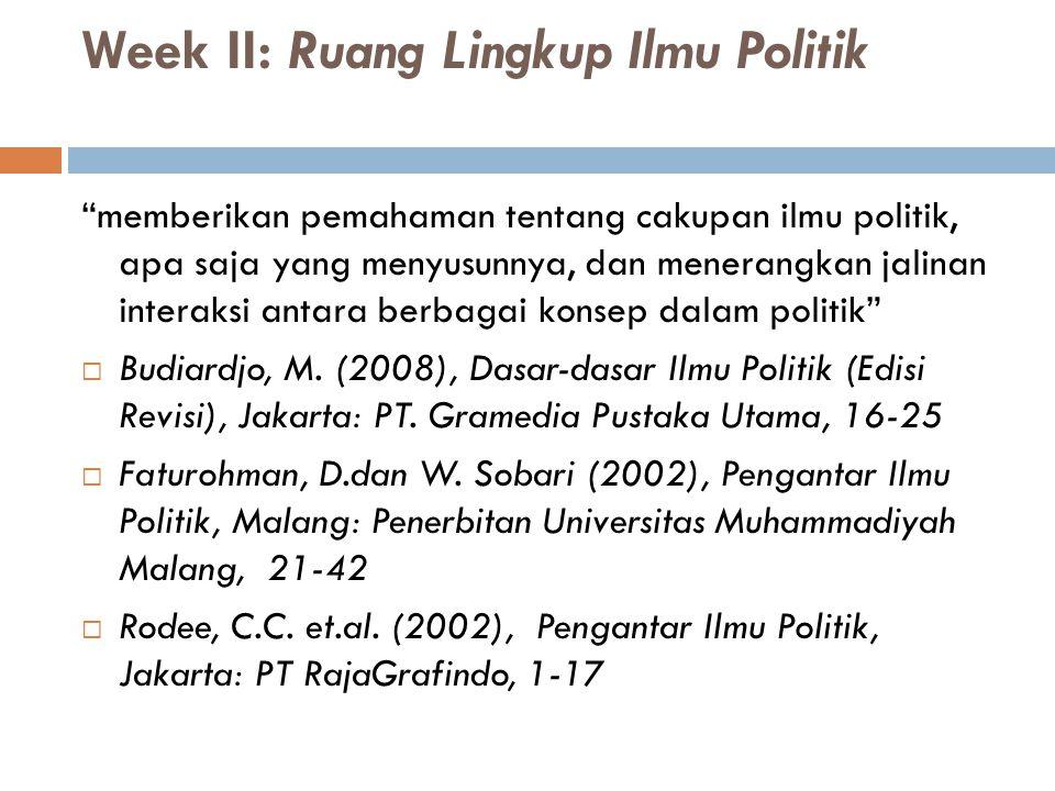 Week II: Ruang Lingkup Ilmu Politik