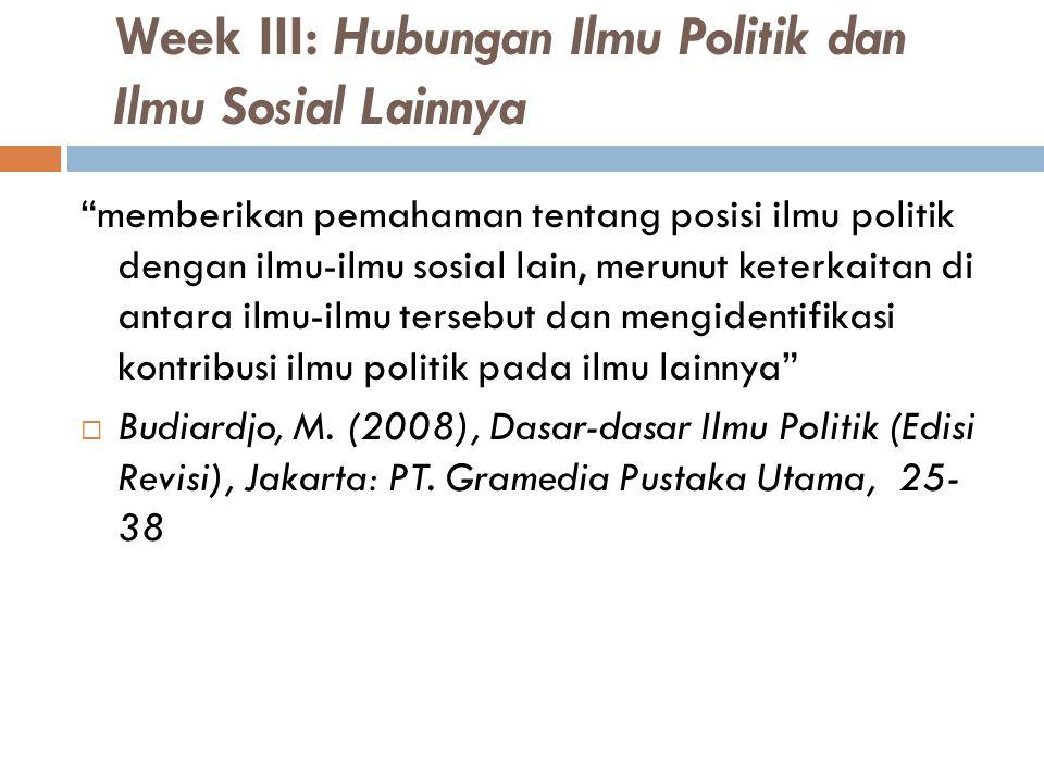 Week III: Hubungan Ilmu Politik dan Ilmu Sosial Lainnya