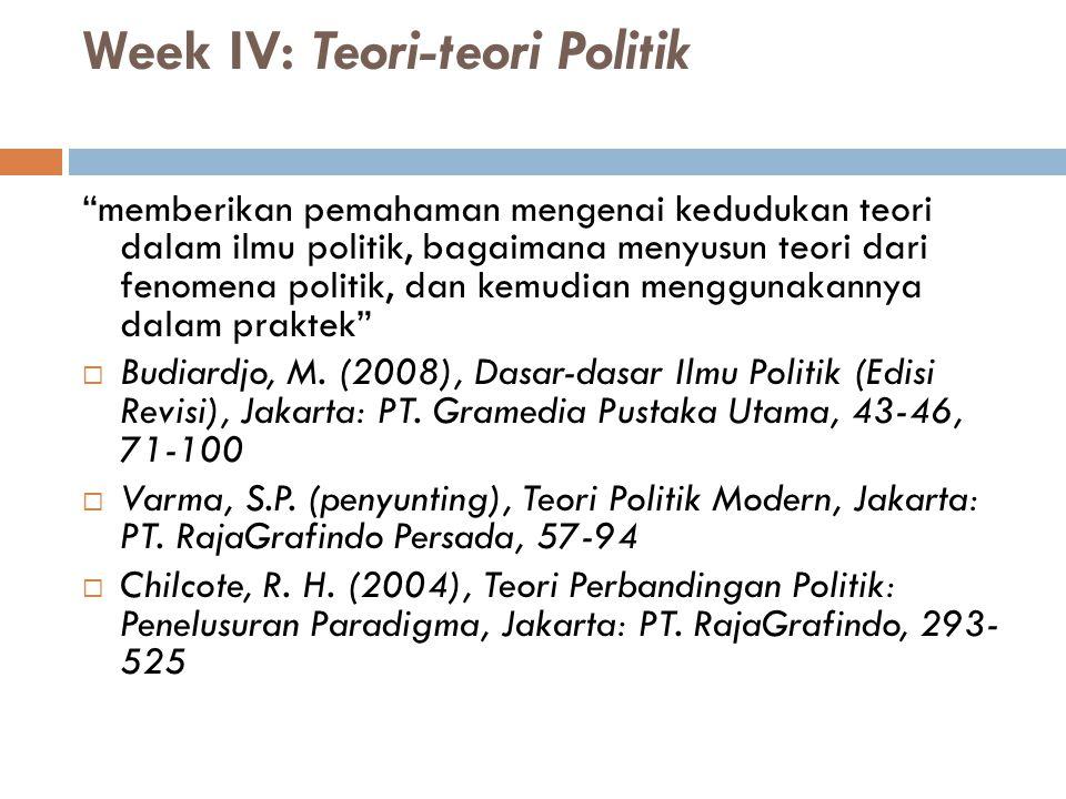 Week IV: Teori-teori Politik
