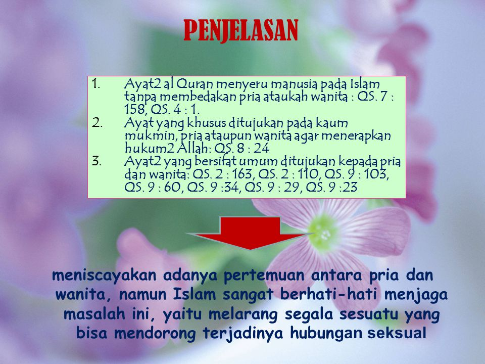 PENJELASAN Ayat2 al Quran menyeru manusia pada Islam tanpa membedakan pria ataukah wanita : QS. 7 : 158, QS. 4 : 1.