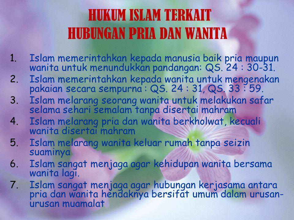 HUKUM ISLAM TERKAIT HUBUNGAN PRIA DAN WANITA