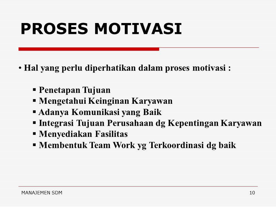 PROSES MOTIVASI Hal yang perlu diperhatikan dalam proses motivasi :