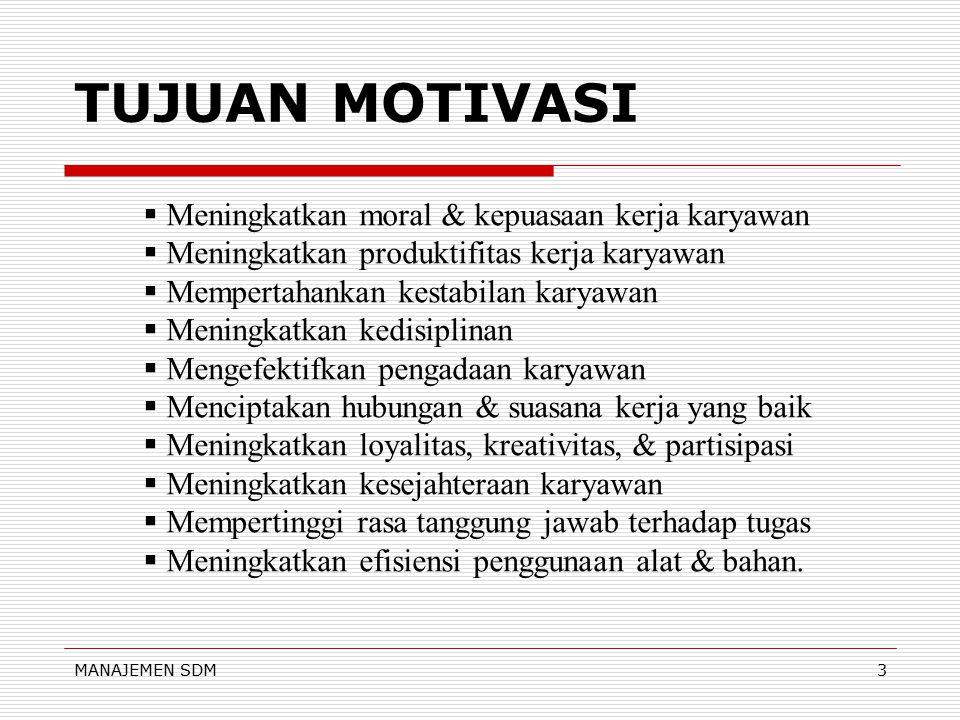 TUJUAN MOTIVASI Meningkatkan moral & kepuasaan kerja karyawan
