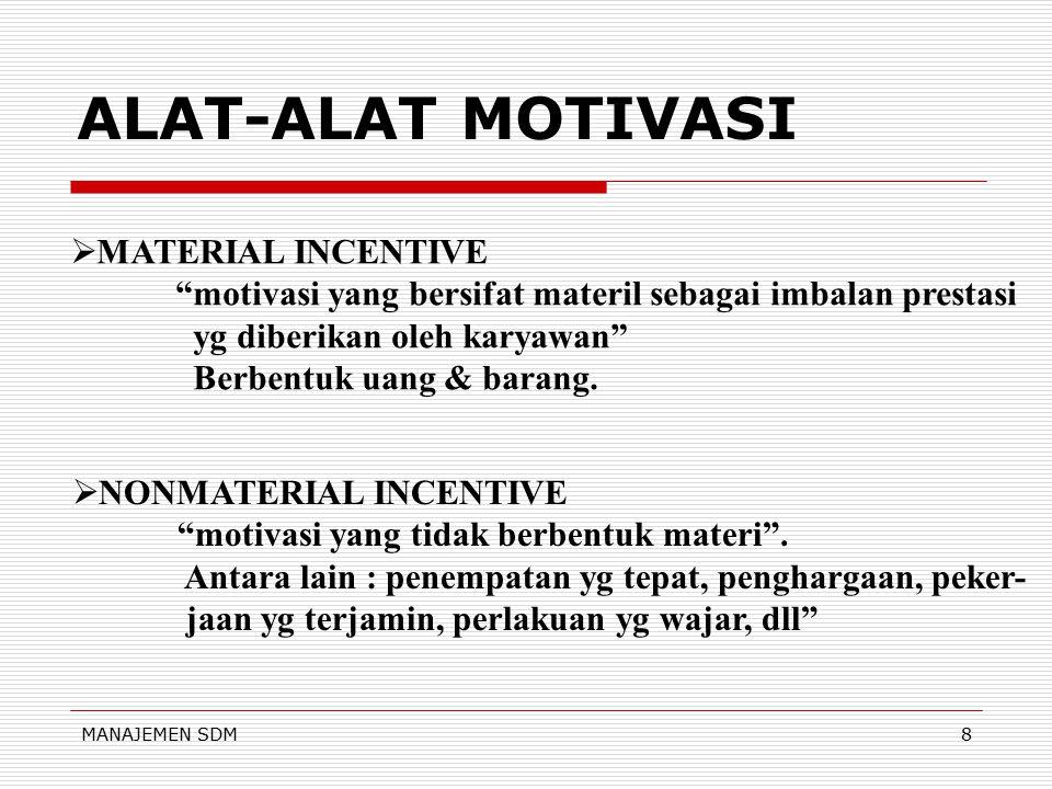 ALAT-ALAT MOTIVASI MATERIAL INCENTIVE