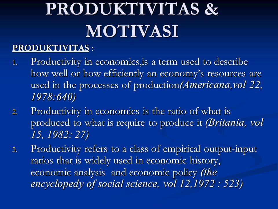 PRODUKTIVITAS & MOTIVASI