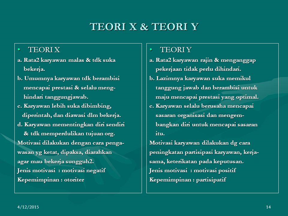 TEORI X & TEORI Y TEORI X TEORI Y a. Rata2 karyawan malas & tdk suka