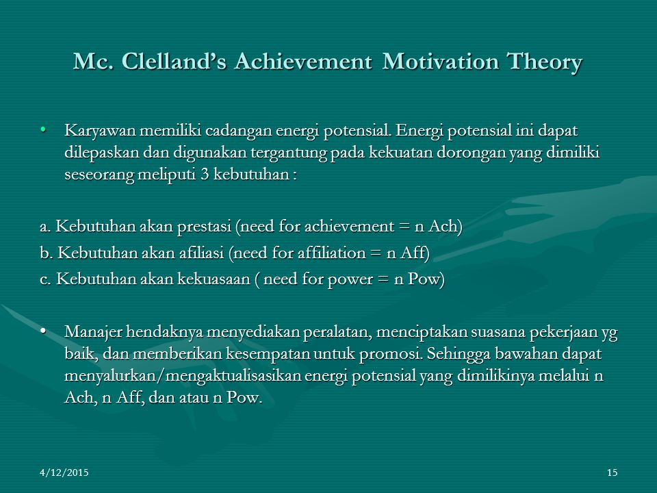 Mc. Clelland's Achievement Motivation Theory