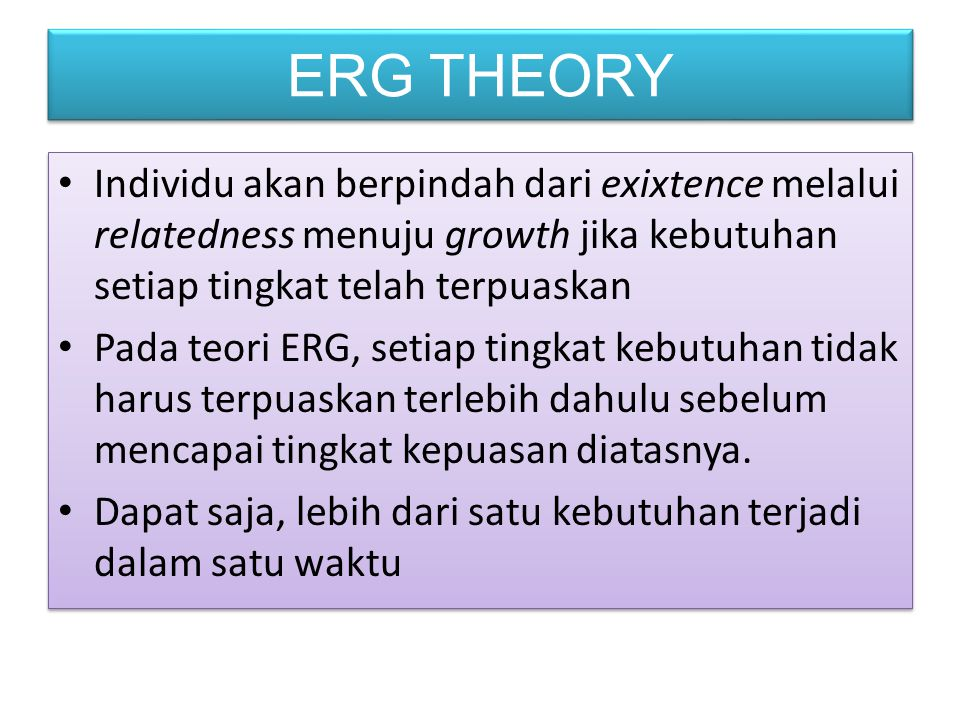 ERG THEORY Individu akan berpindah dari exixtence melalui relatedness menuju growth jika kebutuhan setiap tingkat telah terpuaskan.