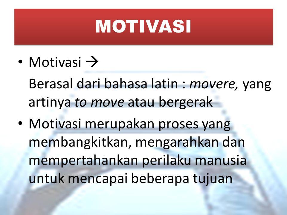 MOTIVASI Motivasi  Berasal dari bahasa latin : movere, yang artinya to move atau bergerak.