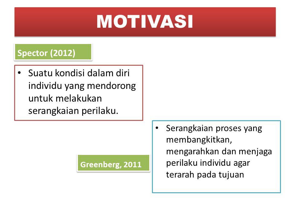 MOTIVASI Spector (2012) Suatu kondisi dalam diri individu yang mendorong untuk melakukan serangkaian perilaku.