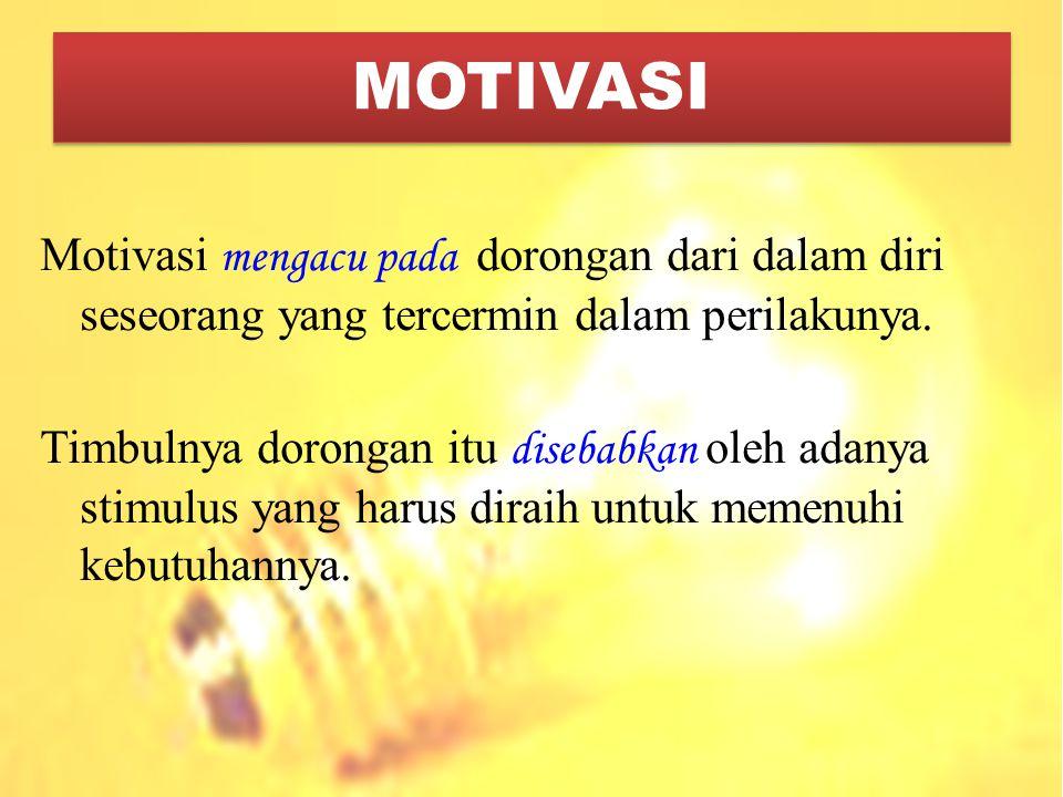 MOTIVASI Motivasi mengacu pada dorongan dari dalam diri seseorang yang tercermin dalam perilakunya.