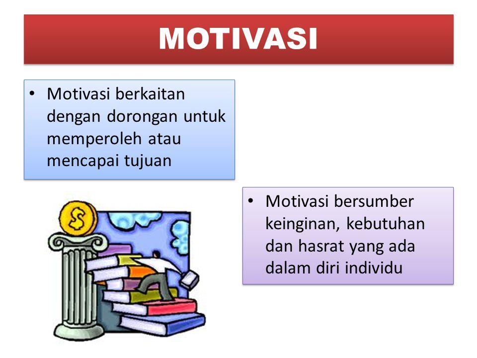 MOTIVASI Motivasi berkaitan dengan dorongan untuk memperoleh atau mencapai tujuan.