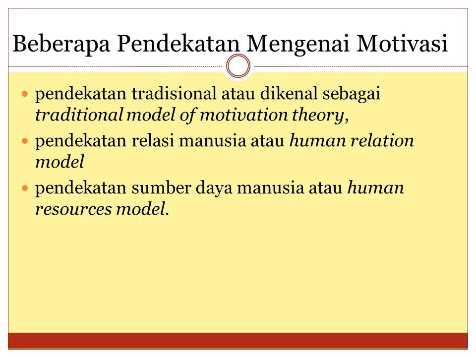 Beberapa Pendekatan Mengenai Motivasi