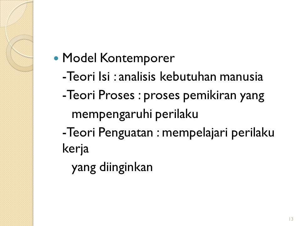 Model Kontemporer -Teori Isi : analisis kebutuhan manusia. -Teori Proses : proses pemikiran yang. mempengaruhi perilaku.
