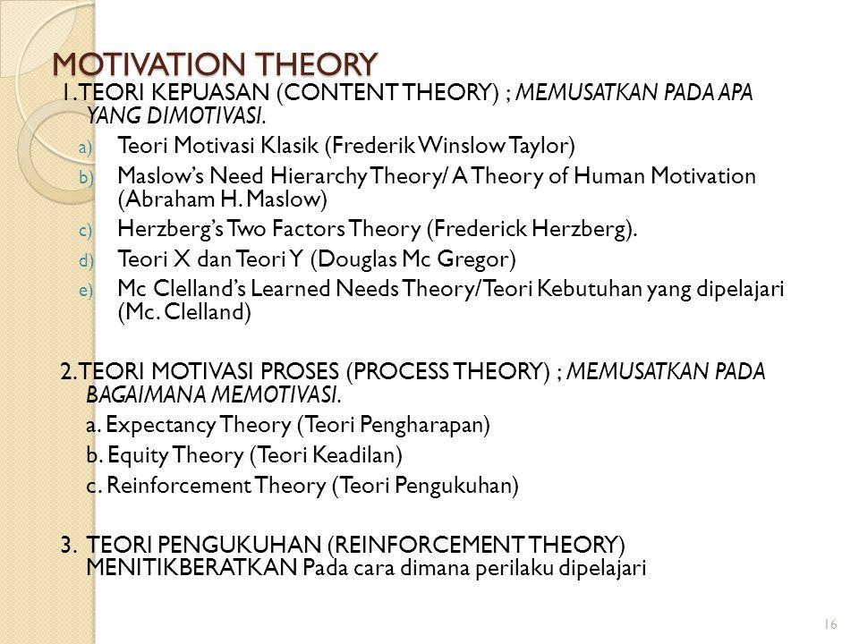 MOTIVATION THEORY 1. TEORI KEPUASAN (CONTENT THEORY) ; MEMUSATKAN PADA APA YANG DIMOTIVASI. Teori Motivasi Klasik (Frederik Winslow Taylor)