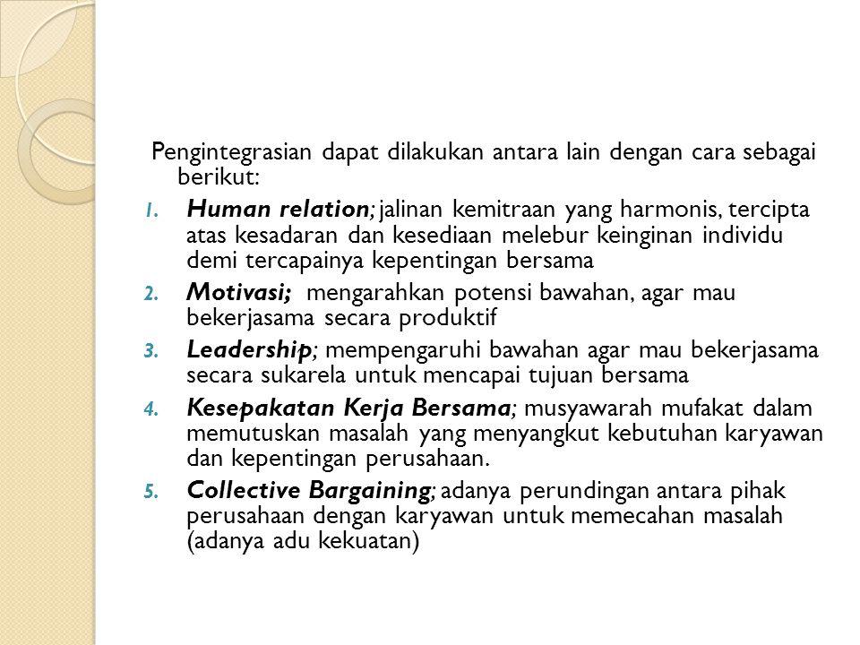 Pengintegrasian dapat dilakukan antara lain dengan cara sebagai berikut: