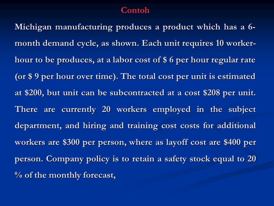 Contoh Michigan manufacturing produces a product which has a 6-month demand cycle, as shown.