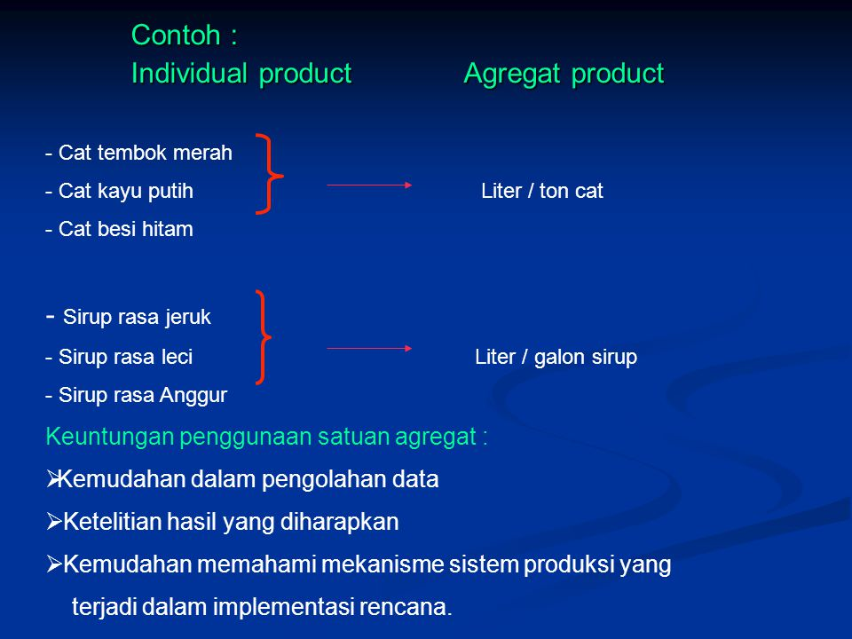 Individual product Agregat product