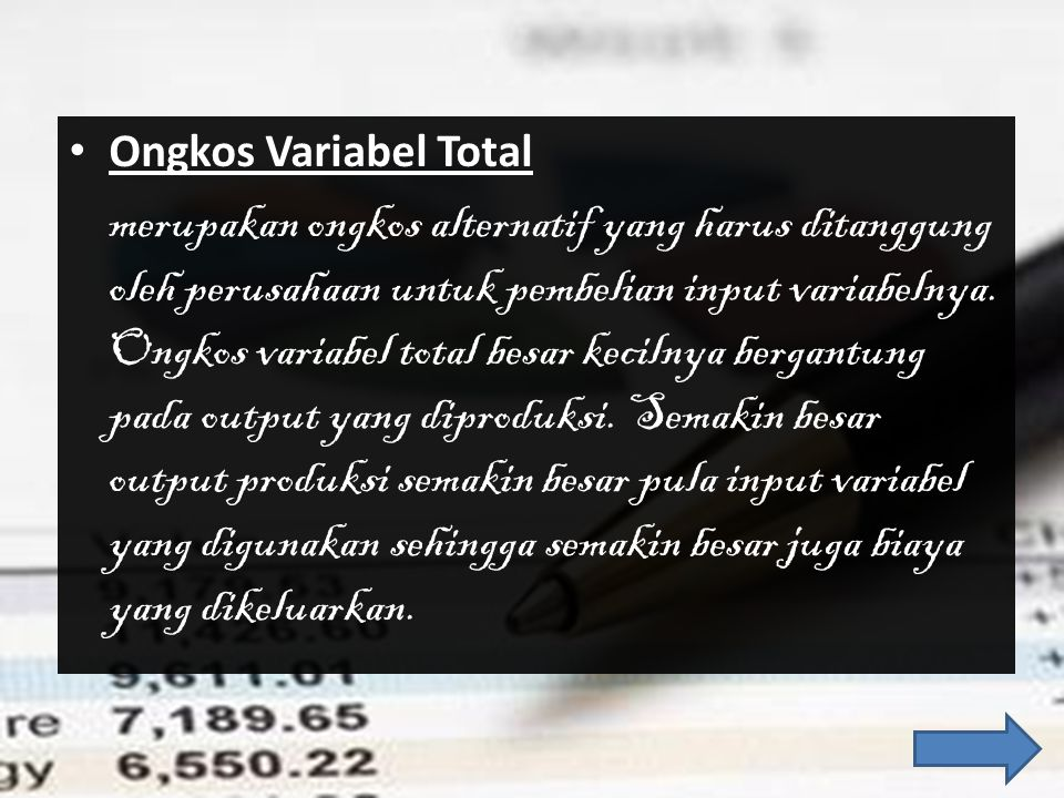 Ongkos Variabel Total