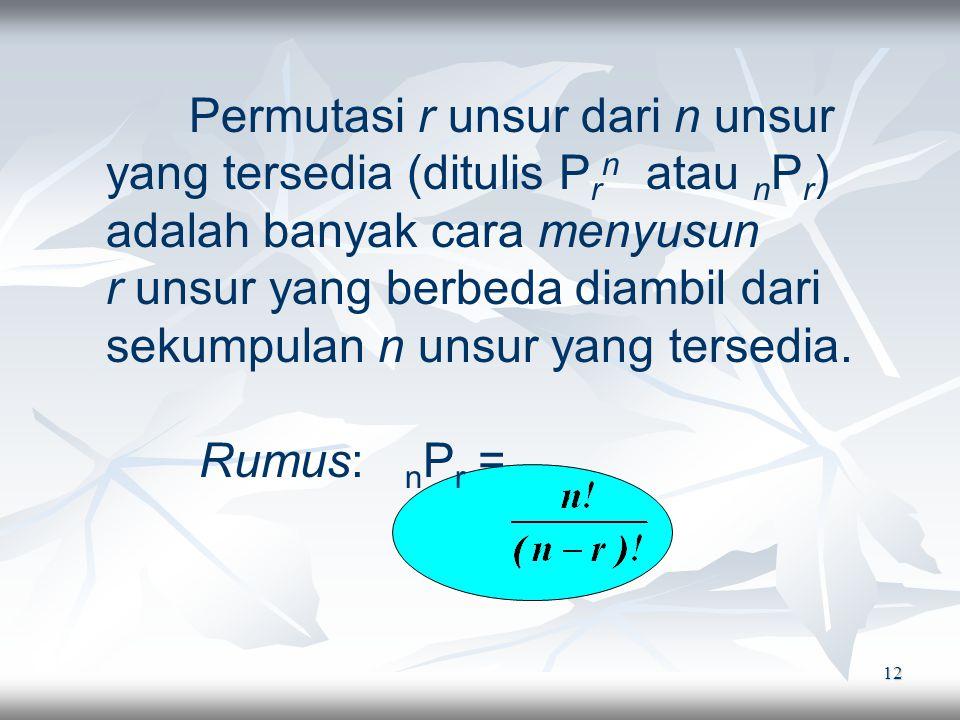Permutasi r unsur dari n unsur