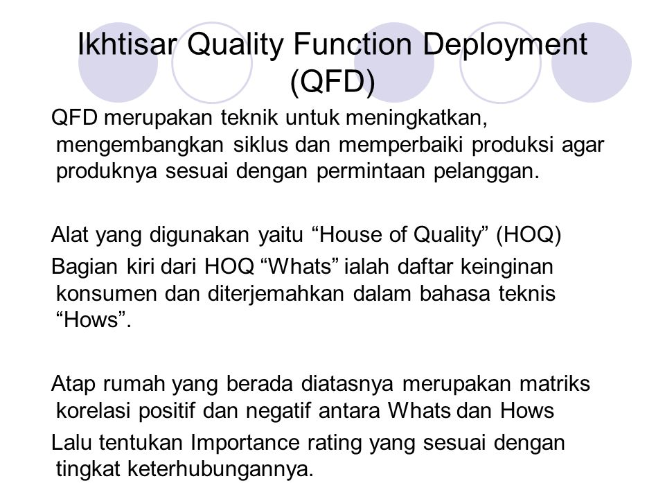 Ikhtisar Quality Function Deployment (QFD)