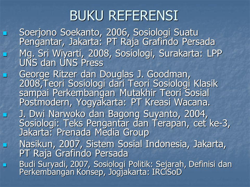 BUKU REFERENSI Soerjono Soekanto, 2006, Sosiologi Suatu Pengantar, Jakarta: PT Raja Grafindo Persada.