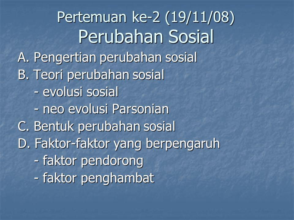 Pertemuan ke-2 (19/11/08) Perubahan Sosial