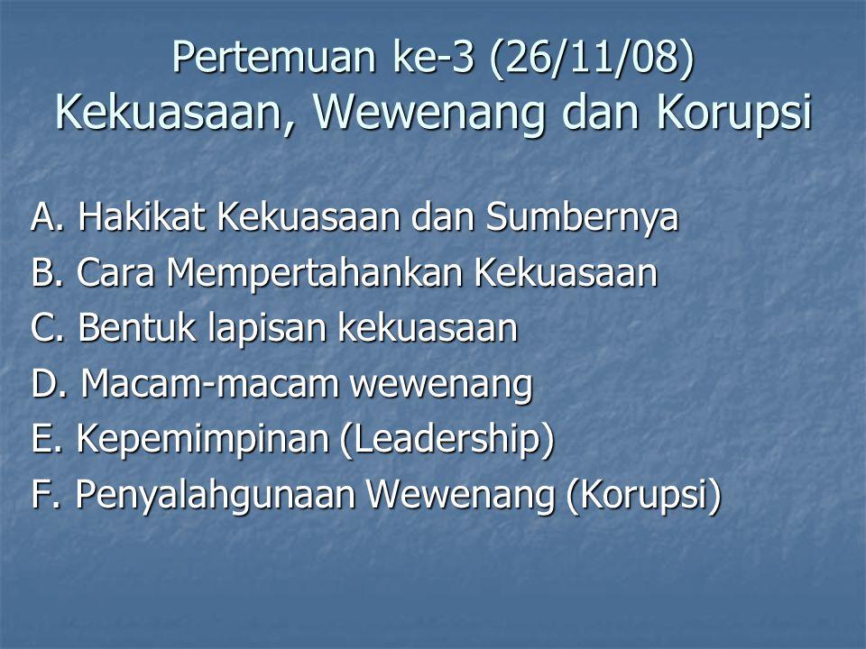 Pertemuan ke-3 (26/11/08) Kekuasaan, Wewenang dan Korupsi