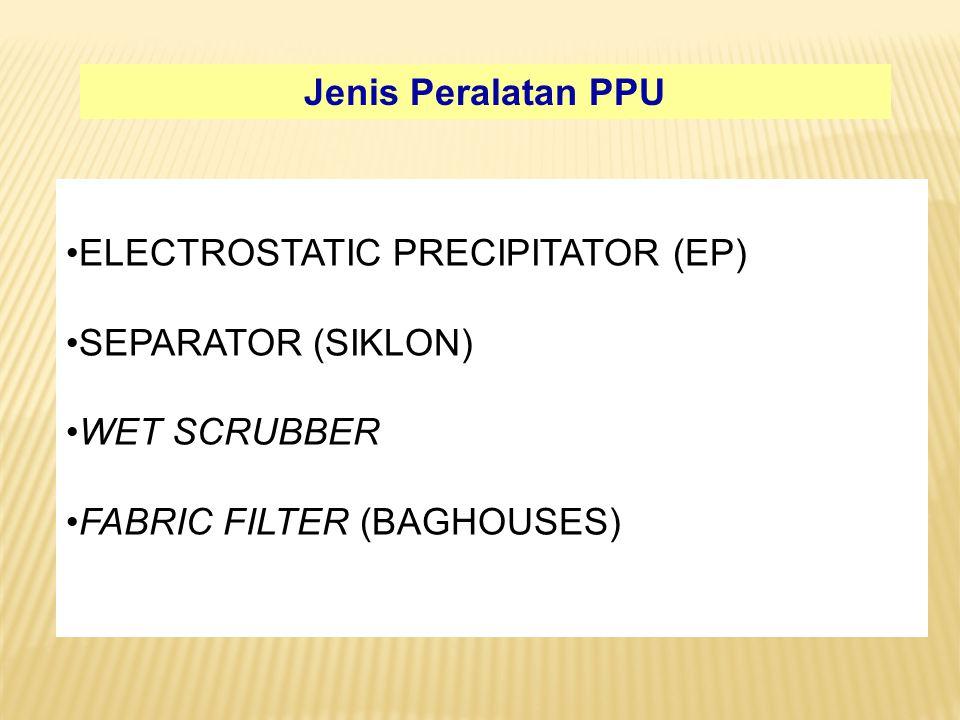 Jenis Peralatan PPU ELECTROSTATIC PRECIPITATOR (EP) SEPARATOR (SIKLON) WET SCRUBBER.