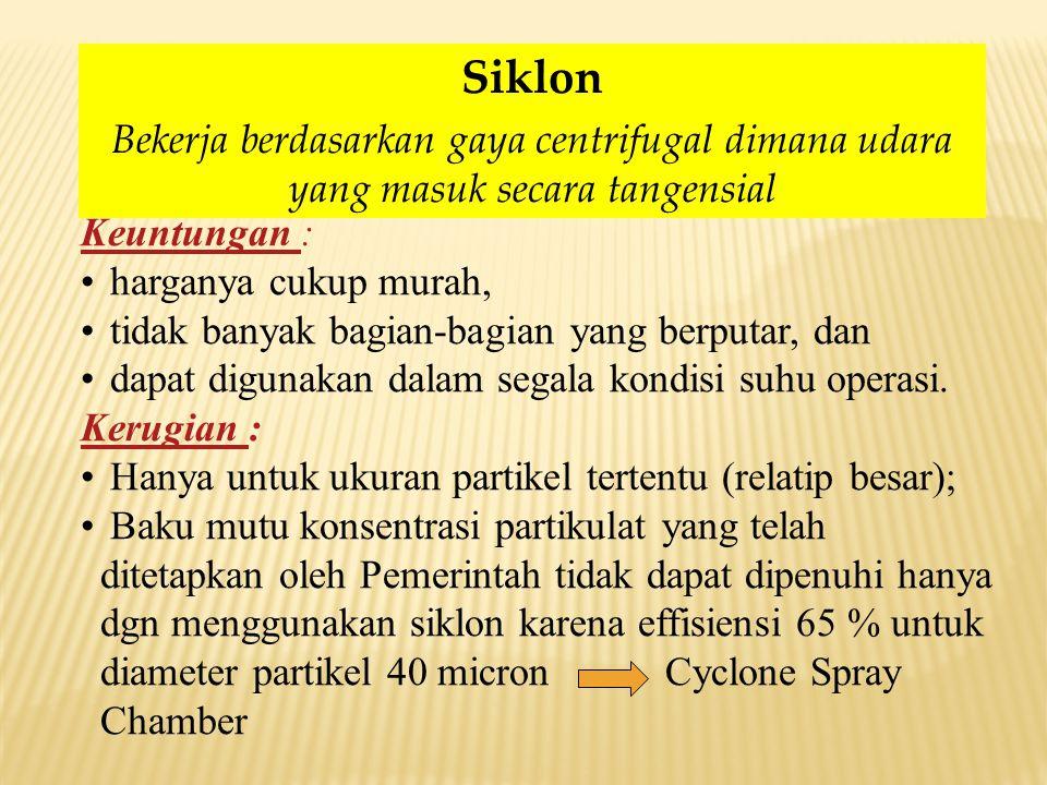 Siklon Bekerja berdasarkan gaya centrifugal dimana udara yang masuk secara tangensial. Keuntungan :