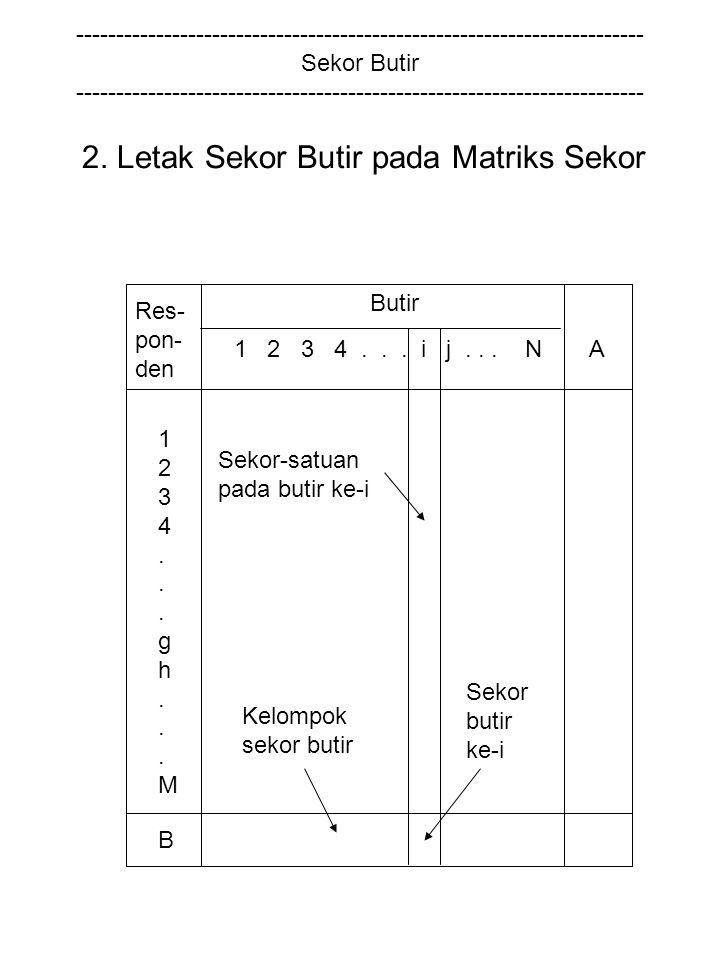 2. Letak Sekor Butir pada Matriks Sekor