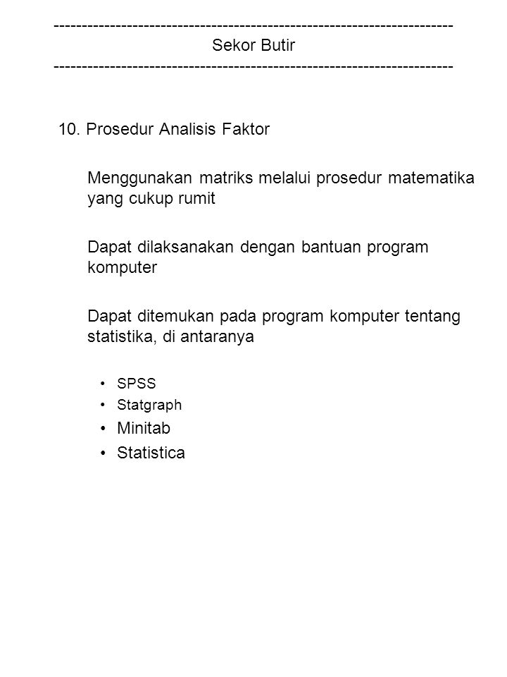 10. Prosedur Analisis Faktor