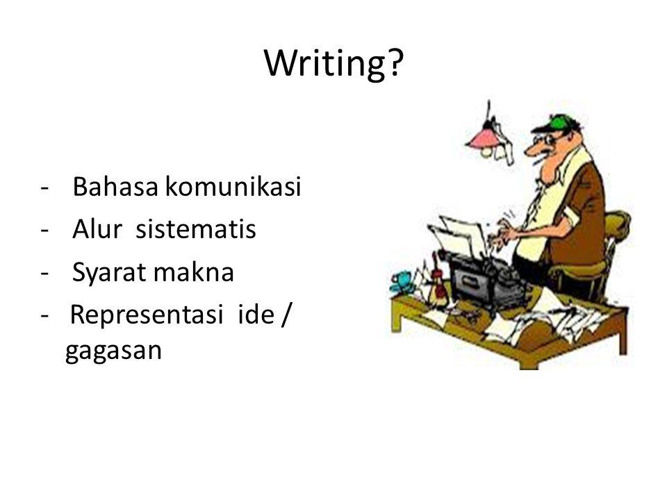 Writing Bahasa komunikasi Alur sistematis Syarat makna