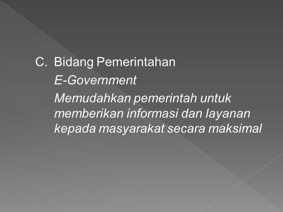 Bidang Pemerintahan E-Government.