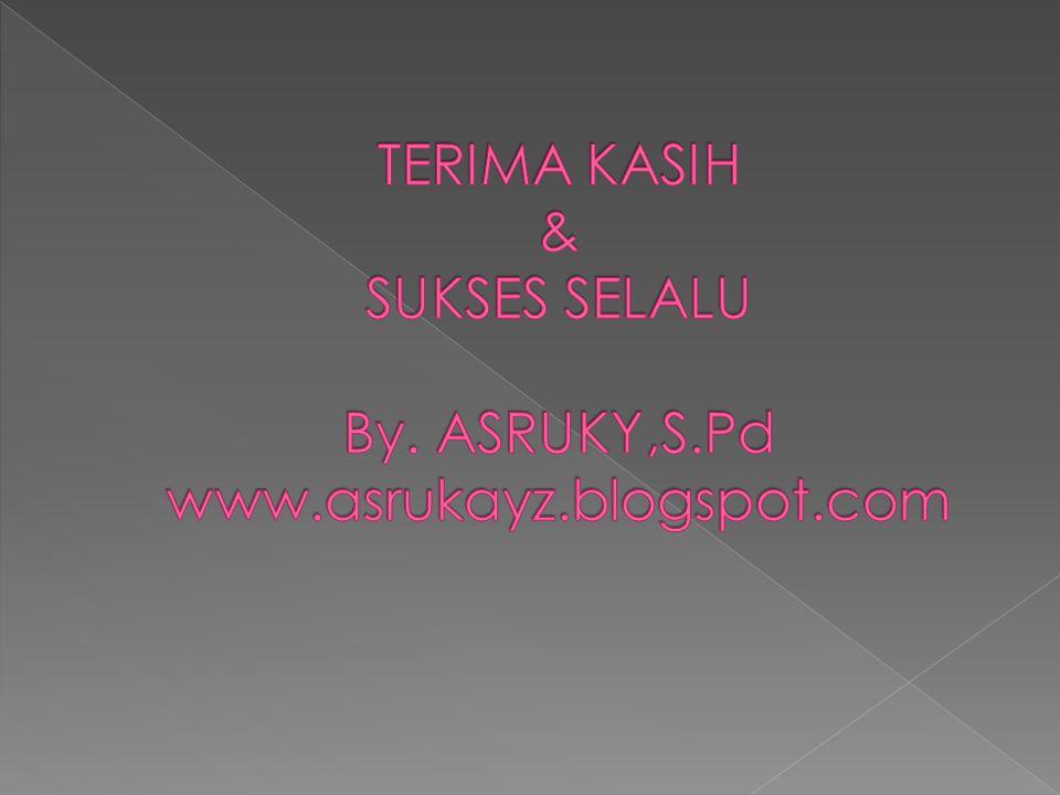 TERIMA KASIH & SUKSES SELALU By. ASRUKY,S.Pd www.asrukayz.blogspot.com
