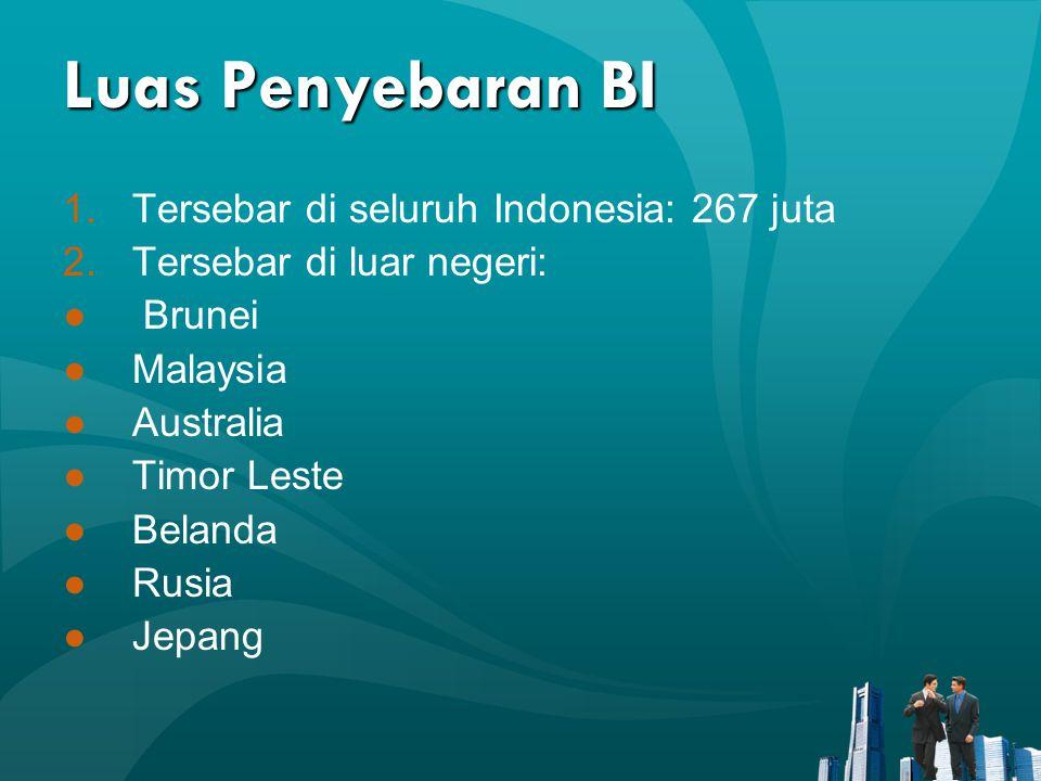 Luas Penyebaran BI Tersebar di seluruh Indonesia: 267 juta