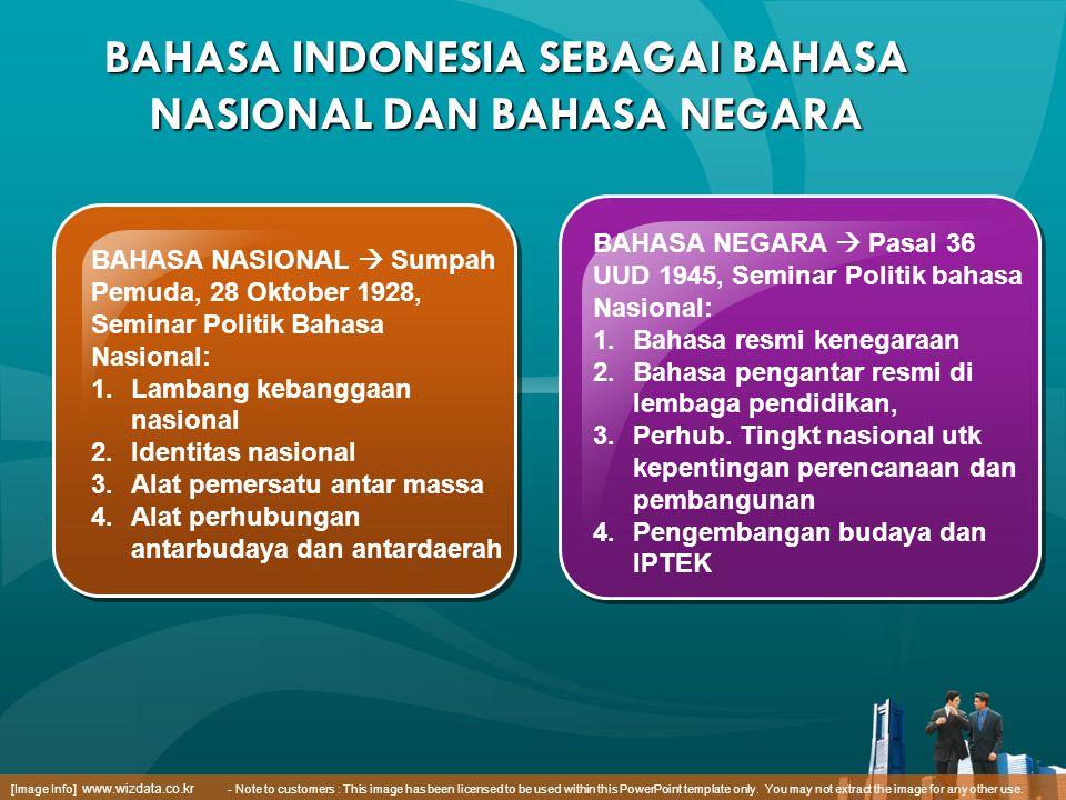 BAHASA INDONESIA SEBAGAI BAHASA NASIONAL DAN BAHASA NEGARA