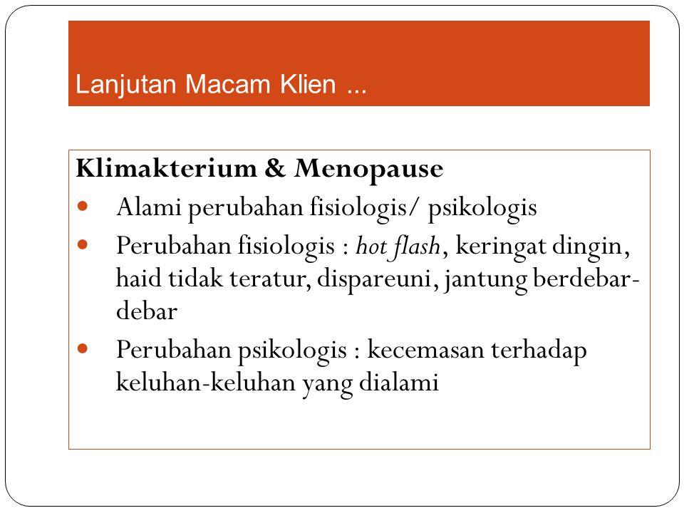 Klimakterium & Menopause Alami perubahan fisiologis/ psikologis