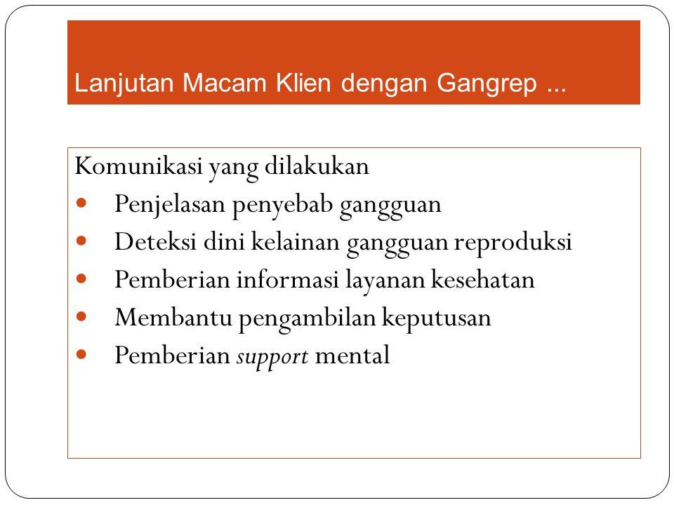 Lanjutan Macam Klien dengan Gangrep ...