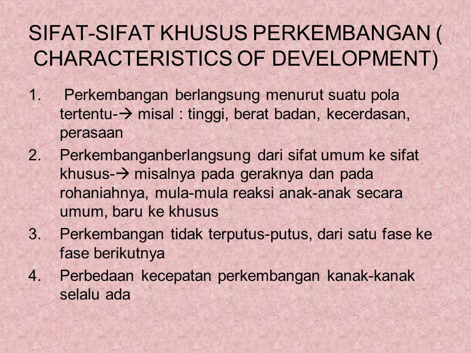 SIFAT-SIFAT KHUSUS PERKEMBANGAN ( CHARACTERISTICS OF DEVELOPMENT)