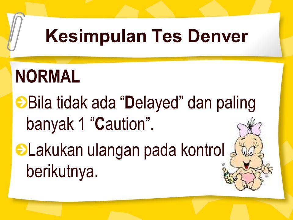 Kesimpulan Tes Denver NORMAL. Bila tidak ada Delayed dan paling banyak 1 Caution .