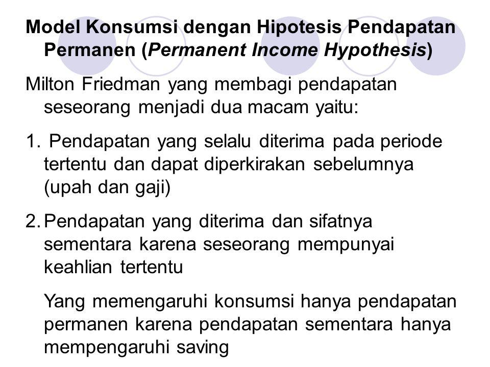 Model Konsumsi dengan Hipotesis Pendapatan Permanen (Permanent Income Hypothesis)