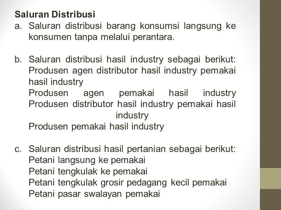 Saluran Distribusi Saluran distribusi barang konsumsi langsung ke konsumen tanpa melalui perantara.