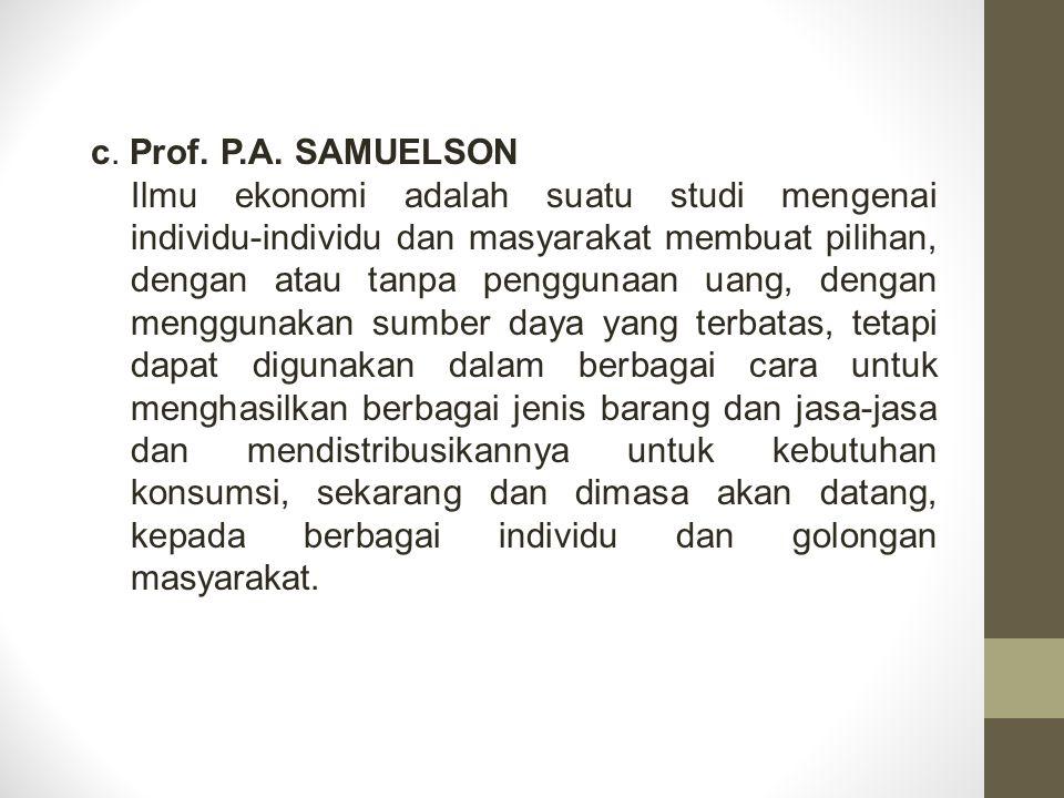 c. Prof. P.A. SAMUELSON