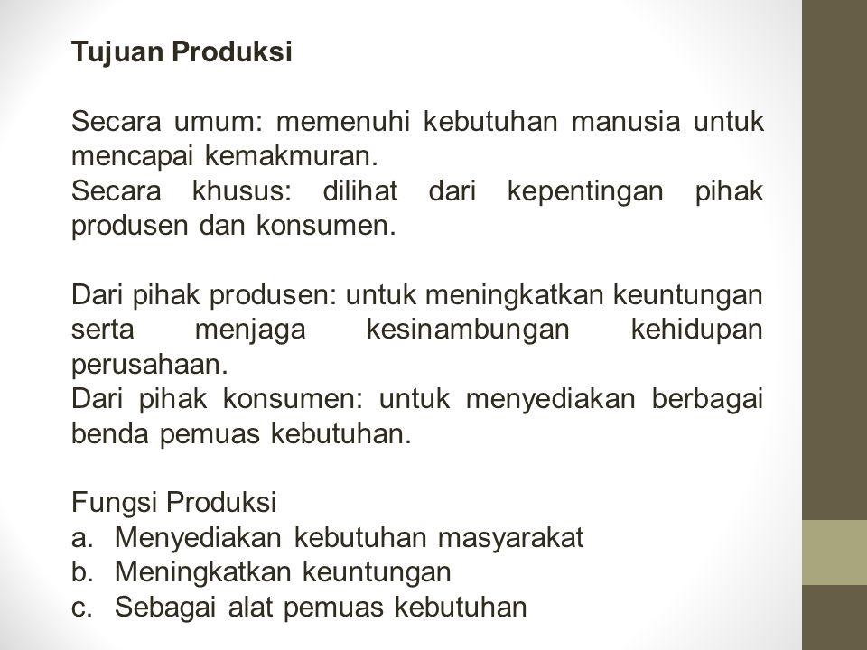 Tujuan Produksi Secara umum: memenuhi kebutuhan manusia untuk mencapai kemakmuran.