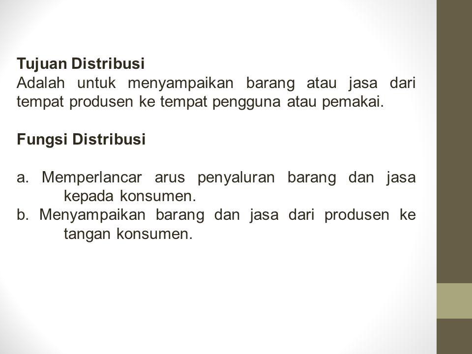 Tujuan Distribusi Adalah untuk menyampaikan barang atau jasa dari tempat produsen ke tempat pengguna atau pemakai.