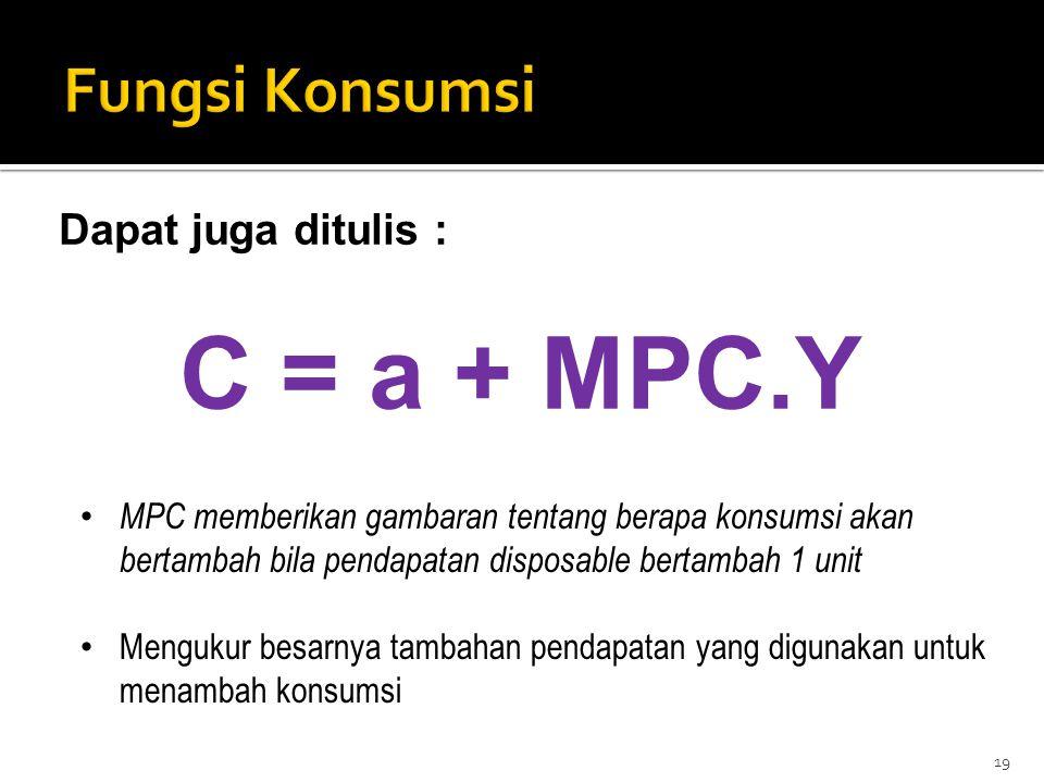 C = a + MPC.Y Fungsi Konsumsi Dapat juga ditulis :