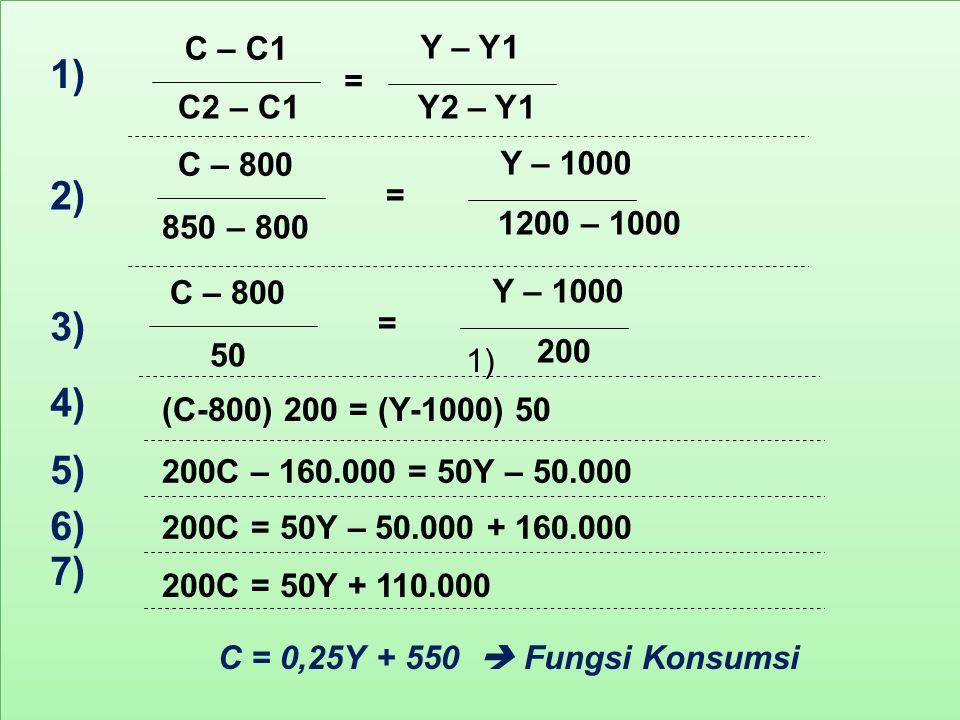 1) 2) 3) 4) 5) 6) 7) 1) C – C1 C2 – C1 Y2 – Y1 Y – Y1 = C – 800