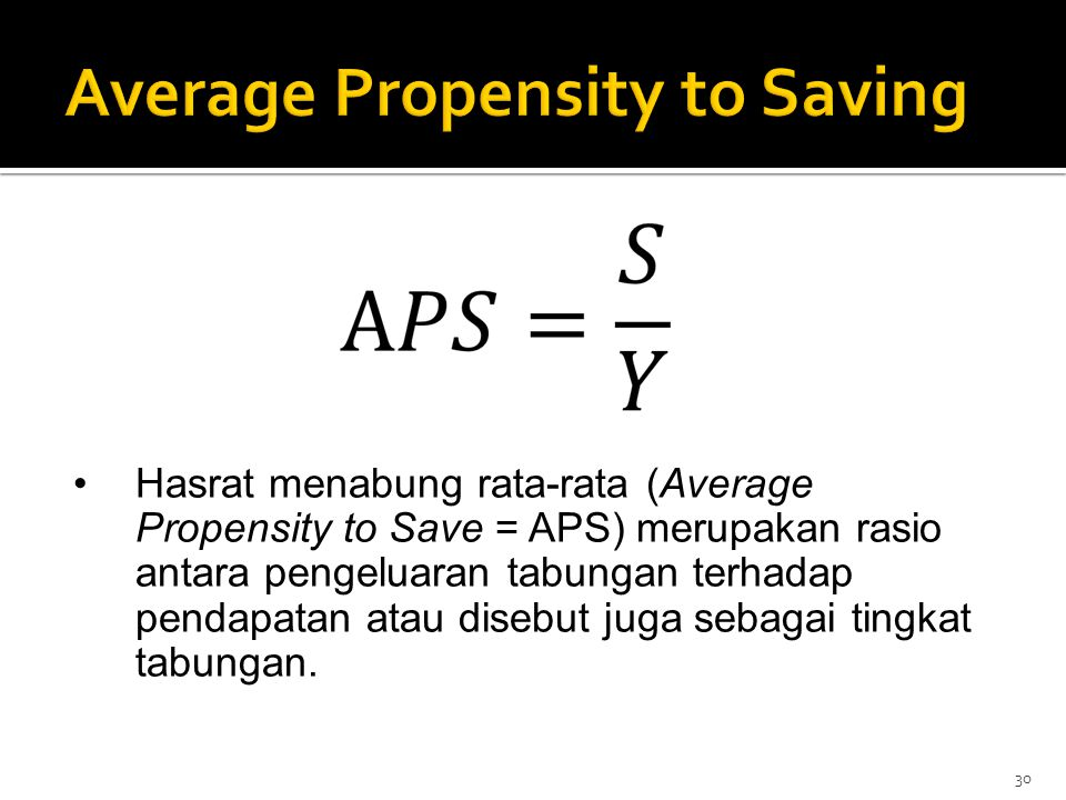Average Propensity to Saving